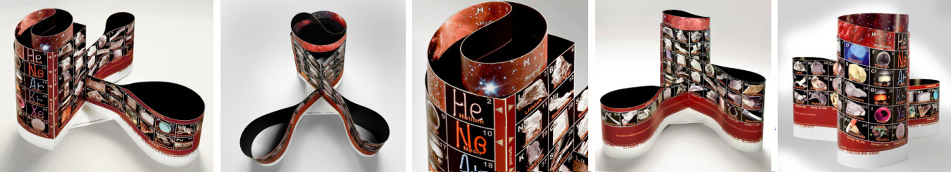 5 views of theAlexander Arrangement of Elements Chemical Element System and 3D Periodic Table